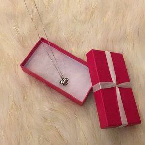 Brighton Silver Etched Heart Necklace NWT